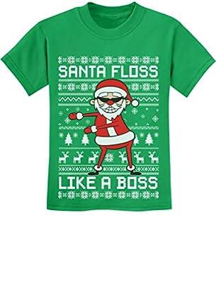 Tstars - Santa Floss Like a Boss Funny Ugly Christmas Sweater Youth Kids T-Shirt
