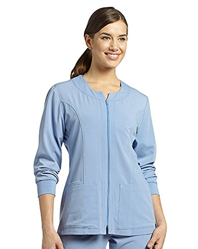 - Marvella by White Cross Women's Jewel Neck Zip Front Scrub Jacket Large Ciel Blue