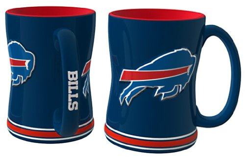 NFL Sculpted Coffee Mug, 14 Ounces, Buffalo Bills