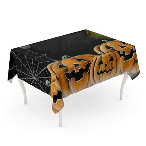(Tarolo Rectangle Tablecloth 60 x 84 Inch Orange Autumn Drawing Halloween Pumpkin Cobweb Spider Skull and Candle Chalkboard Copy Space for Your Texts Carved Table)