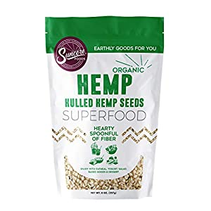 Suncore Foods Premium Quality 100% Organic Hemp Seeds, 8oz Resealable Pouch