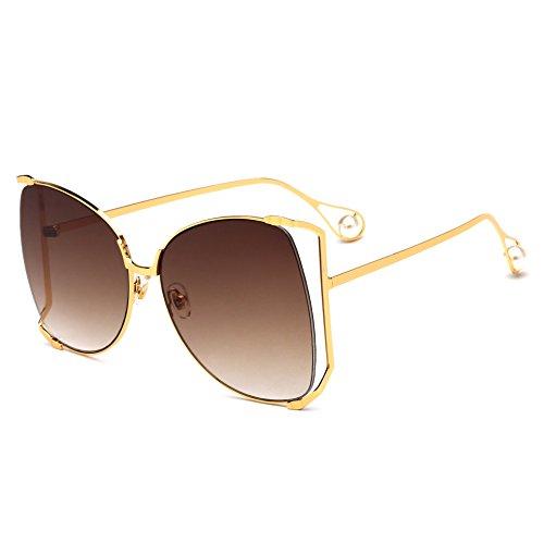para Mujer GAOJUAN Grande De Gafas Marco Moda Brown Perlas Sol Gafas Ghtweight Pink De Gafas gwgtxIqR