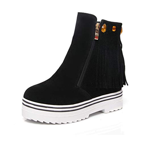 T-JULY Women's PU Soft Leather Restoring Ankle Boots Wedges High Heels Round Toe Platform Black Red Boots Plus -