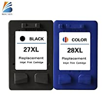 BOSUMON Refilled Ink Cartridge for HP 27 28 XL Replacement for Hp PSC 1310 1311 1312 1315 1317 - 1 Black + 1 Color