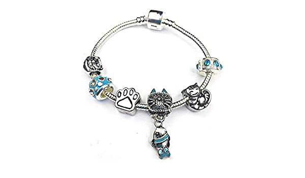 with Gift Box. Liberty Charms Children/'s Cool for Cats Silver Plated Charm Bracelet