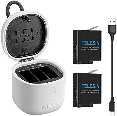 TELESIN Allin Box Cargador para GoPro, Gopro Kit de batería multifunción, Cargador USB LED de 3 Canales, Almacenamiento + Carga + Lector de Tarjetas ...