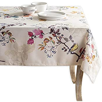 Maison d' Hermine Equinoxe 100% Cotton Beige Tablecloth 60 Inch by 108 Inch. Perfect for Thanksgiving and Christmas