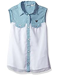 GUESS girls Big Girls Sleeveless Denim and Chiffon Shirt