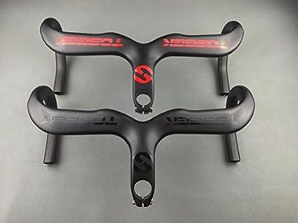 Carbon Fiber Road Bike Handlebar Bicycle Integrated Drop Bar Stem 28.6//31.8mm