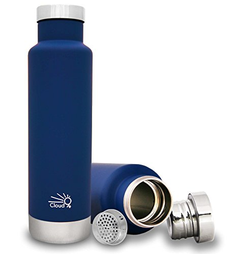 Cloud9 Vacuum-Insulated Double-Wall Thermal Stainless Steel Bottle with Tea/Fruit Strainer, 15 oz/450 ml (Dark Blue)