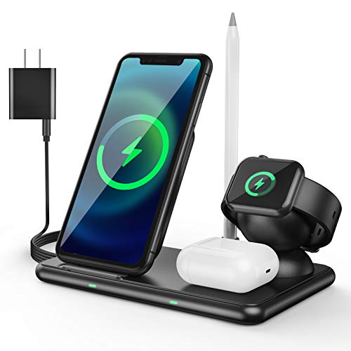 4 in 1 Wireless Charging Station for Apple Products 15W Foldable Fast Wireless Charging Dock for Multiple Devices, iPhone 11/11 Pro Max/XR/XS/X Samsung/Apple Watch 6/5/4/3/2/1 SE. Airpods & Pencil