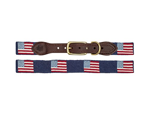 (Good Threads Traditional American Flag Needlepoint Dog Collar - Large)