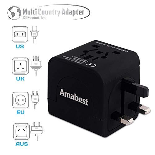 Amabest International Universal Travel Adapter Type AU/US/UK/EU Plug Converter for USA, Japan, Thailand, India, Italy, South Africa, Australia, Bali, China, Spain, Vietnam, France, Singapore