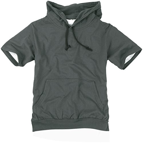 ililily Canvas short sleeve pullover hooded cotton lightweight sweatshirt for Men (hoodies-002-15-L)