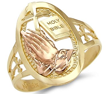 Sonia Jewels Size- 8-14k Yellow and Rose Gold Cross Praying Hands Bible Ring
