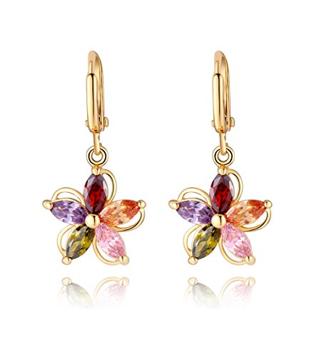 - 18k Gold Plated Flower Colorful CZ Crystal Dangle Earrings for Girls (0579)