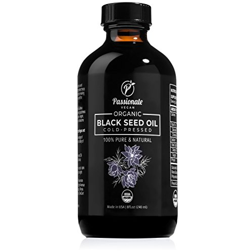 Black Seed Oil - RAW, Organic, and Cold Pressed from Black Cumin Seeds (Nigella Sativa) - 8 Fluid Ounce Glass Bottle - By Passionate Vegan - Premium Quality and Healing Supplement by Passionate Vegan