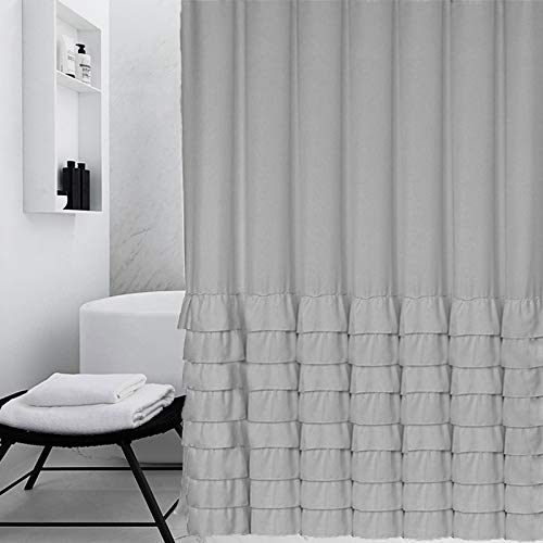Pleasant Ameritex Ruffle Shower Curtain Fabric Soft Polyester Decorative Bathroom Accessories Elegant Classic Great For Showers Bathtubs Large Size Beutiful Home Inspiration Ommitmahrainfo