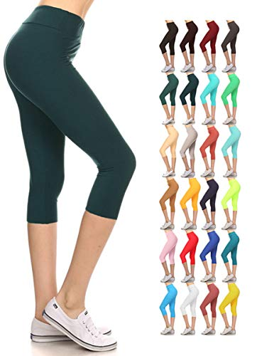 LYCP3X5X128-FORESTTEAL2 Yoga Capri Solid Leggings, 3X5X