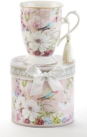 Amazon Com Porcelain Tea Coffee Mug In Gift Box Daisy Bird Kitchen Dining