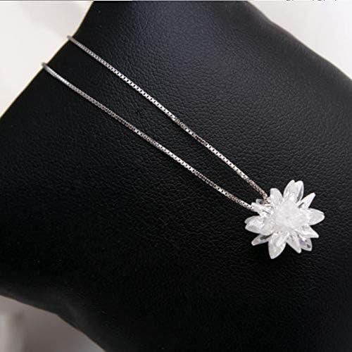 Silberkette massiv Schneewittchen Schnee Schnee Schnee Schnee Kristall Schloss Kette 925 Sterling Silber Halskette Valentinstag Geschenk