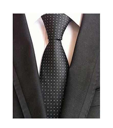 Men's Black Pin Dot Party Woven Ties Repp Elegant Banquet Formal Prom UK ()