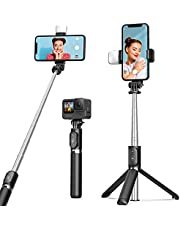Selfie Stick Tripod with Fill Light ARTOFUL Phone Tripod Stand with Remote & 360°Rotation Compatible with iPhone, Android Phones Gopro, Small Camera
