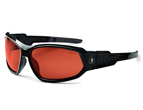 Ergodyne Skullerz Loki Convertible Polarized Safety Sunglasses/Goggle Kit-Black Frame, Copper Lens by Ergodyne