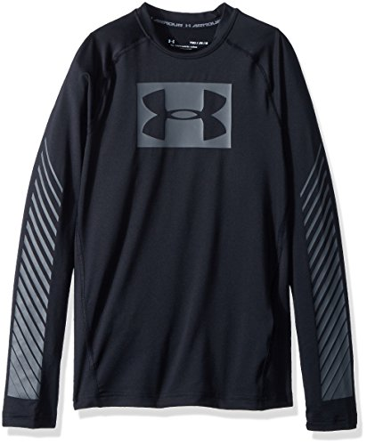 Heatgear Boys Shirt - Under Armour Boys' HeatGear Armour Graphic Long Sleeve Shirt, Black (001)/Graphite, Youth Small