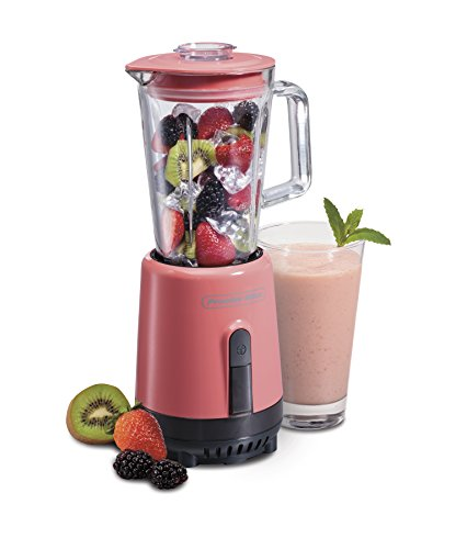 Proctor Silex Compact One-Touch Blender for Shakes and Smoothies with 20oz Glass Jar, Pink (51153A)