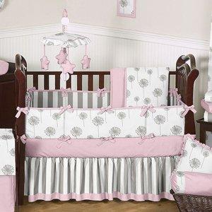 Amazon.com: Diente De León rosa y gris para cama de bebé – 6 ...