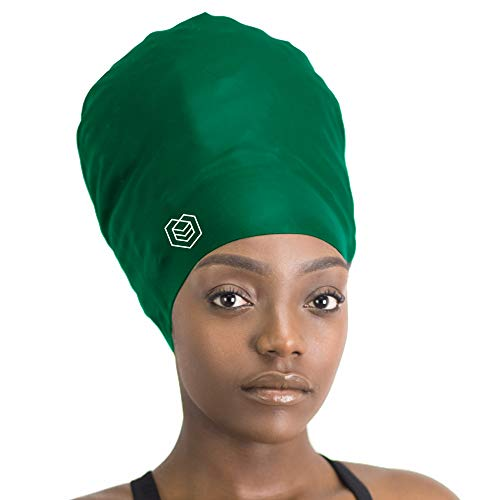 SOUL CAP XXL - Extra Extra Large Swimming Cap/Shower Cap | Designed for Long Hair, Dreadlocks, Weaves, Hair Extensions, Braids, Curls & Afros | Women & Men | Silicone (Green)