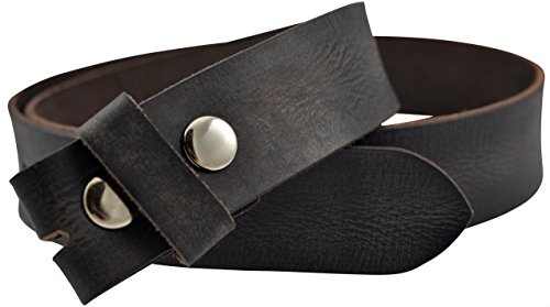 (Vintage Full Grain Buffalo Leather Solid 1-Piece Belt Strap - Black)