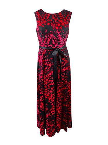 - Tahari ASL Women's Velvet Flocked Belted Gown (14, Black/Garnet)