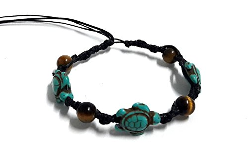 Bracelet or Anklet Sea Turtle in Turquoise Hemp Hawaiian Tiger Eye Stone Beads For Mens womens Teens (Eye Of The Tiger Dance Costume)