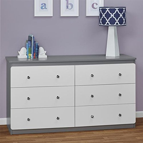 Contemporary Baby Dresser   6 Drawer Chest Dresser For Baby, Toddler, Children Nursery Bedroom Decor Furniture   Made of MDF ( Grey & White Finish ) - Includes FREE (TM) EBOOK