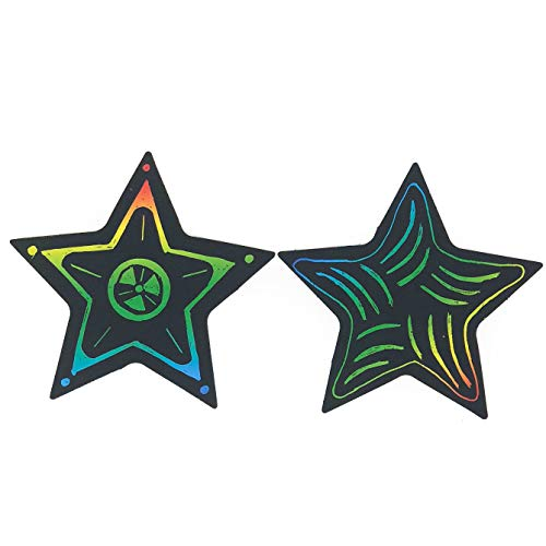 50 Piece Scratch Art Star Craft Kit - Christmas Ornament Crafts for Kids]()