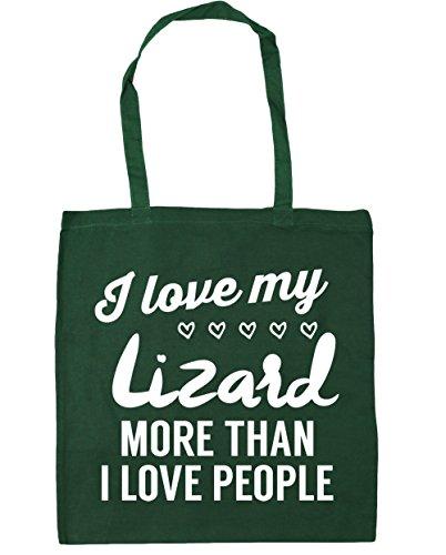 HippoWarehouse I Love My Lagarto más de I Love People Tote Compras Bolsa de playa 42cm x38cm, 10litros verde oscuro
