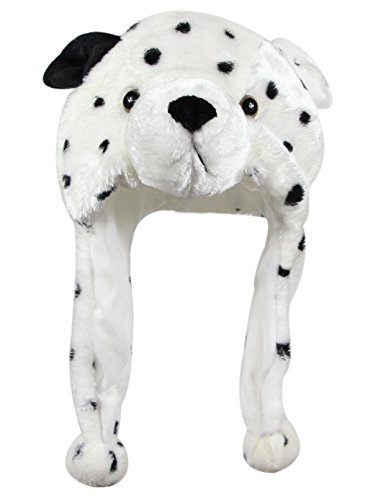 Bioterti Plush Fun Animal Hats -One Size Cap - 100% Polyester with Fleece Lining - Hat Dalmation