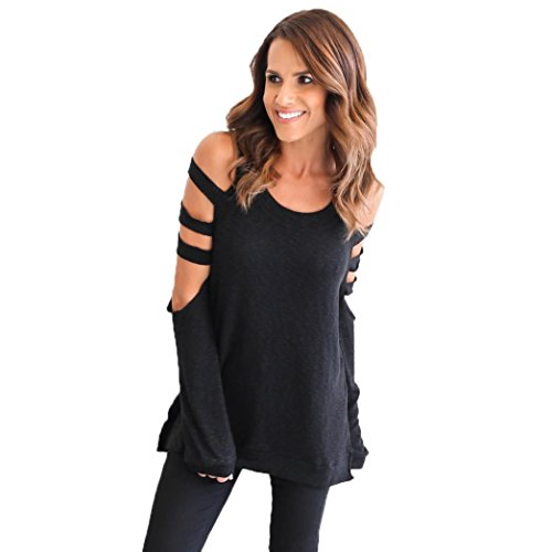 Vovotrade Women Sexy Loose Long Sleeve Hollow Shirt Casual Blouse (S, Black)