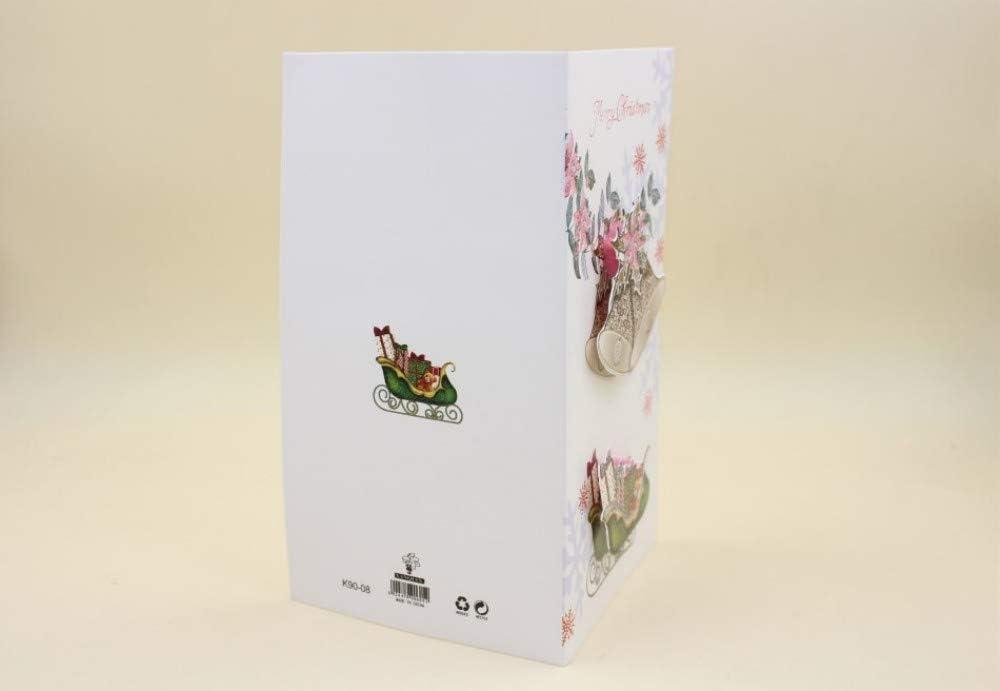 Lot de 16 cartes de v/œux de No/ël traditionnelles en papier kraft 3D
