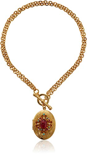 Ben-Amun Jewelry Royal Charm Ruby Stone Gold Locket Toggle Necklace, 16