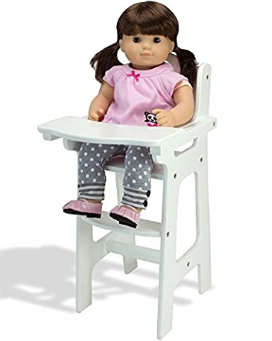 Affordable Doll High Chair in White with Heart Cutout Design by Sophia's, Fits 15 Inch Bitty Baby Dolls, by American Girl and - Doll Furniture High Chair