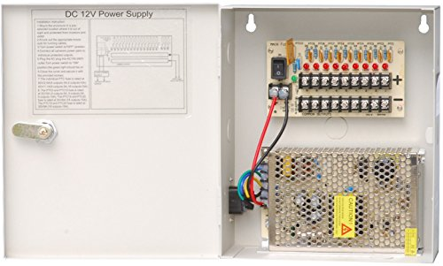 (HDView CCTV Distributed Power Supply Box for Security Camera, PTC Resetable Fuse [no fuse burn], Key Lock (9 Ports 10Amp, 12V DC Power))