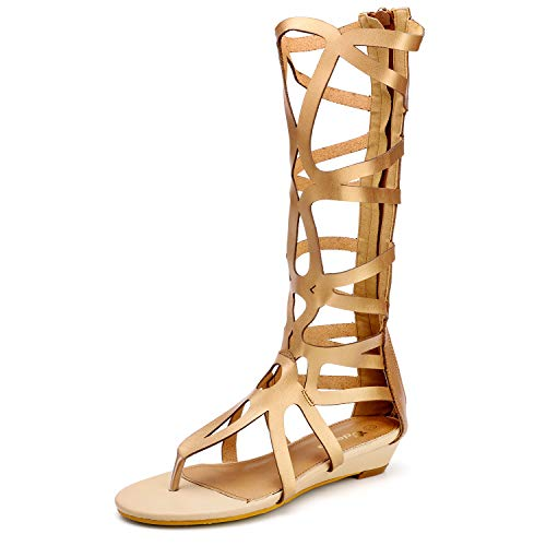 Odema Women's Roman Cut Out Knee High Strappy Gladiator Thong Sandals ()