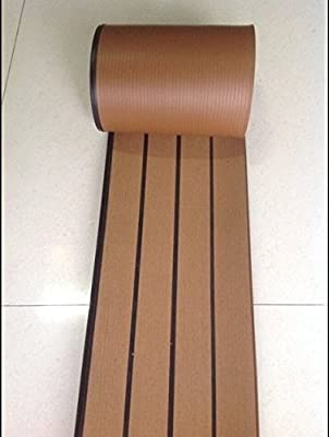 25 Meter Roll Natural Brown Marine Yacht Quality Synthetic Teak Decking Black Caulk Joint