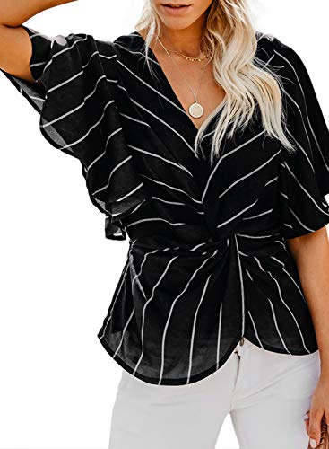 FARYSAYS Women's Casual Striped Ladies Short Sleeve V Neck Twist Front Chiffon Fashion Blouse and Tops Loose Spring Shirts for Work Black XX-Large