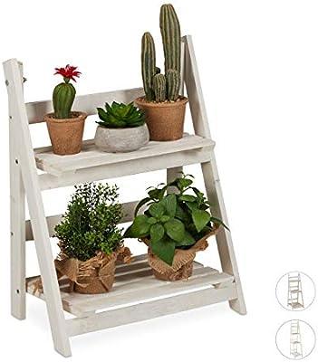 2 pelda/ños Madera Blanco relaxdays Estanter/ía Plantas para Interior y Balc/ón M Soporte Flores 51x41x25 cm Escalera Plegable
