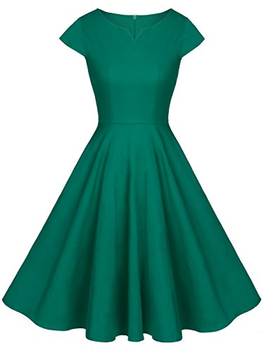 FAIRY COUPLE Vintage Rockabilly Cap Sleeves Prom Dress L Green