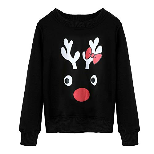 Seaintheson Matching Family Christmas Pajamas Tops, Xmas Reindeer Print Long Sleeve Shirt Family Homewear Nightwear Sleepwear ()